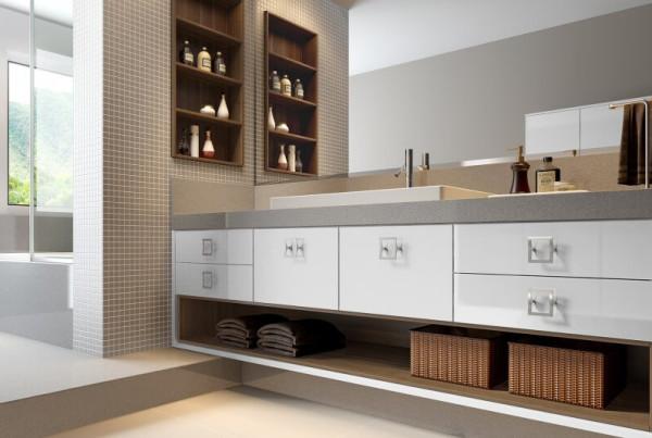 Precioso Móveis - Planejados banheiro marrom e branco
