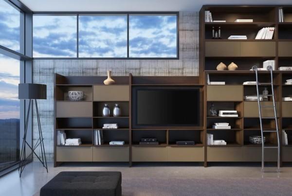 Precioso Móveis - Planejados sala de estar com estante
